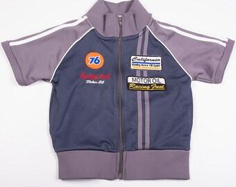 Vintage 90s Zip Up Cropped Car Racing Grid Girl Tracksuit Jacket