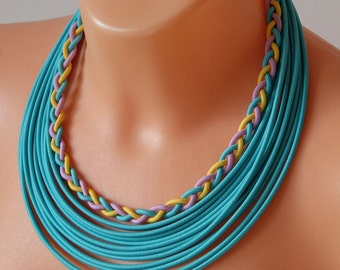 Statement necklace, Bib necklace, nautical necklace, turquoise necklace, knot necklace, summer necklace, summer necklace, summer jewelry