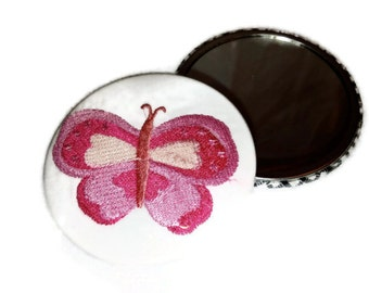 """Pink Embroidery Mirror Butterfly Pocket Mirror Embroidered 3"""" Large"""