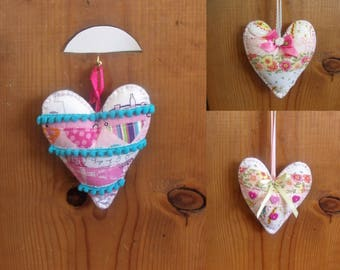 Stuffed Patchwork Heart Ornaments/Hanging Decor/Valentines with a Turqoise Colored Felt Backing