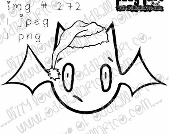 INSTANT DOWNLOAD Kawaii Creepy Cute Christmas Bat ~ No.272 by Lizzy Love