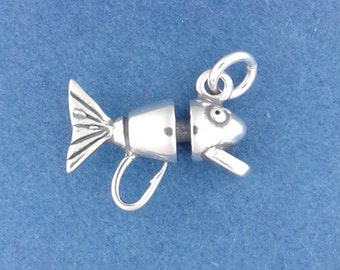 FISHING LURE Charm .925 Sterling Silver, Fish Hook, Fly Fisherman Bait Pendant - d44169