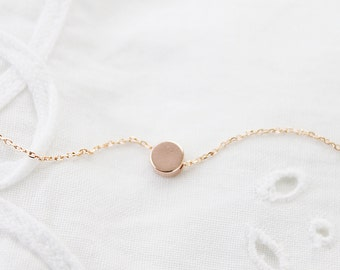 Rose Gold Tiny Dot Necklace Dainty Dot Necklace Bridesmaid Gift Bridesmaid Necklace Birthday Gift