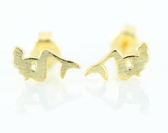 Mermaid Post Earring, Sterling Silver, Vermeil, Mermaid Jewelry, Beach Jewelry, Ocean Jewelry, Small Post Earring