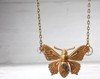 Steampunk Butterfly Necklace vintage watch movement - CLOCKWORK WINGS - ooak - tiny genuine rubies Etsy UK