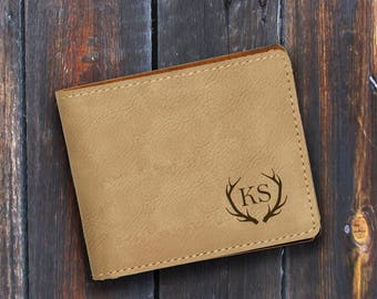 Engraved Bifold Wallet-Personalized Hunting-Mini Size Art Work-Light Brown Wallet-Antlers 2
