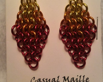 Flame Chain Maille (European 4-1) Earrings (Yellow/Orange/Red Ombre)