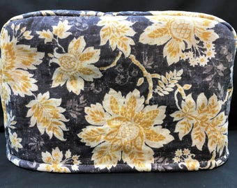 2-Slice Grey Yellow Flowers Reversible Toaster Cover