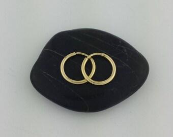 """Tiny Solid Gold Sleeper Hoop Earrings, 14k, 18k, 22k, 1/2"""" Gold Hoops, 16 Gauge, 14k Rose Gold, Gold Sleeper Earrings, Small Gold Hoops"""