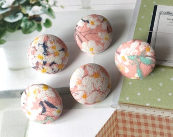 Handmade Small Pink Green White Dainty Floral Flowers Fabric Covered Buttons, Flat Backs, 0.75 Inches 5's