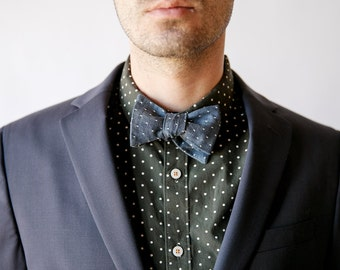 Chambray bow tie, denim bow tie, blue bow tie, chambray necktie, chambray skinny tie, wedding necktie, men's tie, custom tie, polka dot tie