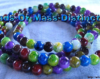 6mm Glass Jewel Beads - 1 36 Inch Strand - Multi-colored - Destash Sale