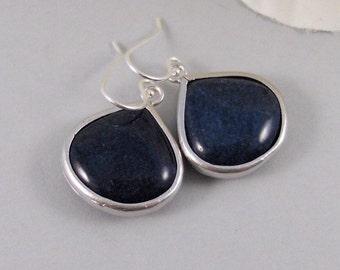 Blue Sand,Earrings,Blue Earrings,Silver Earrings,Blue,Navy,Sterling Silver,Bride,Jade,Wedding,Handmade by Valleygirldesigns on Etsy