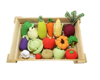 Kids Gift Personalized Baby Toys for Newborn Baby Shower Gift 16pc Crochet vegetables Fruits Birthday gifts Montessori toys Pinata Fillers