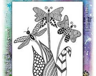 Flower Stamp, Fly-Fly Flowers, Rubber Dance, Rubber Stamps, Animal Stamp, Butterfly Stamp
