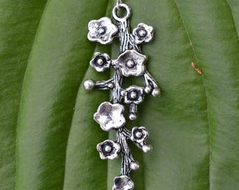 Cherry Blossom Pendant with Genuine Ruby Accent - Silver