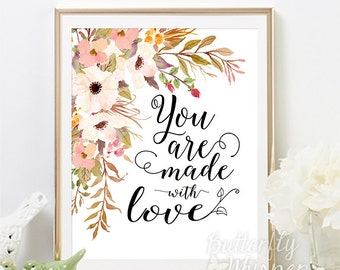Nursery printable wall art, Made with love, Baby nursery wall decor art print, Baby gift idea, Nursery wall art, Flower printable for babies