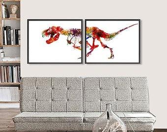Art Print Watercolor Dinosaurs Painting Watercolor Colorful Kids Room Decor Childrens Print - BEST SELLER - Set of 2 - 264