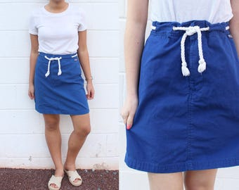 Ralph Lauren Polo Cobalt Blue Drawstring Mini Skirt