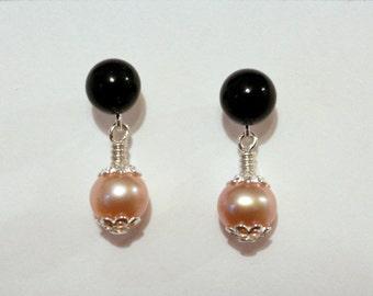 Pearl Earrings, Onyx Earrings, Sterling Silver Earrings, Stud Earrings, Gemstone Earrings, Silver Dangle Earrings, Pearl And Onyx Earrings
