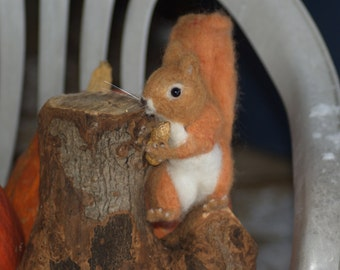 Realistic Needle Felted Red Squirrel, Soft Sculpture in Wool