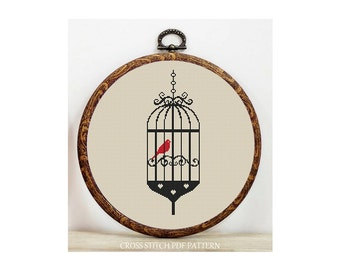 Birdcage-Cross Stitch Pattern-Modern Sampler-Pdf-Instant Download