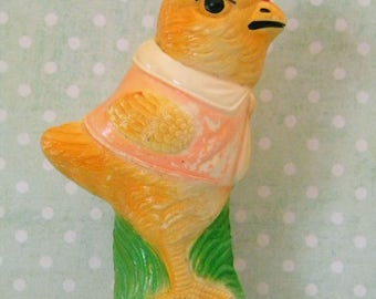 Antique Celluloid Roly Poly Easter Chick Toy Viscoloid Japan Weighted Base