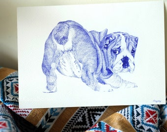 Bulldog Butt | Original Pointillism Drawing | Blue Ballpoint Pen on A5 Paper