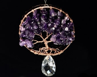 Amethyst Tree Of Life Sun Catcher, Tree of Life Wall Decor, Tree of Life Wall Art, Tree of life Ortament , window decoration