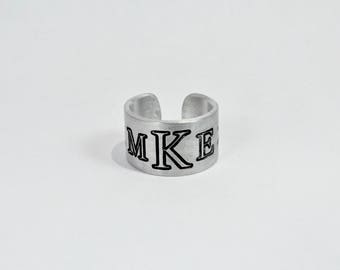 "Custom Monogram Ring / Personalized Monogram Ring / Gift for Daughter / Wedding Party Gift  / Graduation /  1/2"" aluminum silver cuff ring"