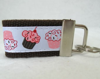 Cupcake Mini Key Fob -Cupcakes BROWN Key Chain - Cupcake Zipper Pull
