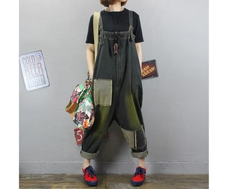 Womens Summer Loose Fitting Retro Patchwork Denim Cotton Overalls With Pocket,Casual Overalls,Cotton Overalls,Loose Pants,Overalls For Women