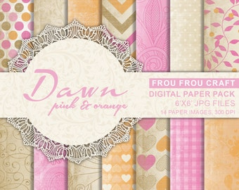 Pink and Orange Digital Paper Pack Instant Download Vintage Glamour Glitter Gold Dawn Chevron Damask Floral Flower Heart Pattern 6x6 inches