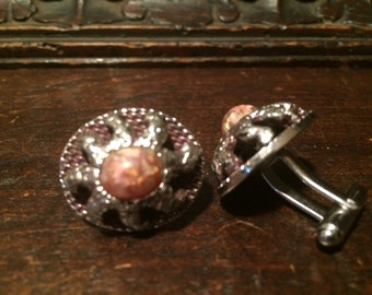 Vintage Cuff Links Metal with Stone Center Sun Ray Motif Steampunk