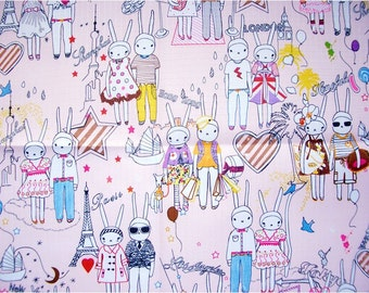 2423 - Fifi Lapin and Sonny Bunny Rabbit Waterproof Fabric - 58 Inch (Width) x 1/2 Yard (Length)