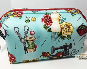 Sewing Room Kit Bag, Project Tote, Cosmetic Bag, Needlework Tote, Sewing Tool Bag