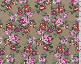 Light Brown Floral Crepe de Chine, Fabric By The Yard