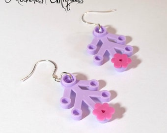 Earrings Lego violet leaves