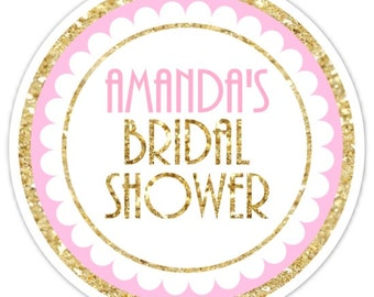 60 Wedding Shower Stickers, Gold Glitter and Pink Bridal Shower Stickers, 2.5 inch round, Wedding Shower, Bridal Shower Gold Glitter Print