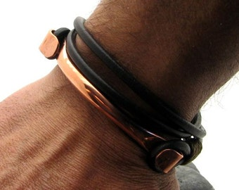 Fathers Day Gift for him. Men's Bracelet. Man Leather Bracelet. Copper bracelet. Gift for Boyfriend. Gift for Husband. Gift for dad.