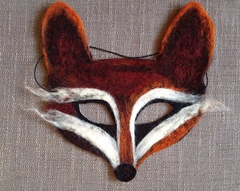 Fox Mask Totally unique needle felted fox mask (halloween/festival/world book day). Handmade by the artist.