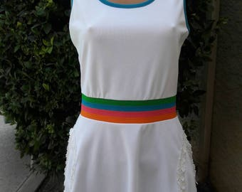 Cute Vintage 1970s Polyester Tennis Dress with colorfull waisband Made by Top Seed