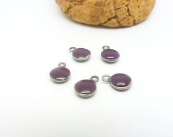 5 charm round 6mm purple enamel - (USAI18) stainless steel base
