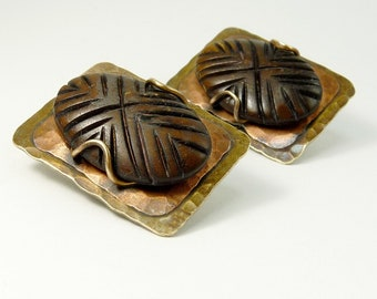 Vintage Marjorie Baer Clip Earrings Mixed Metals & Wood Organic