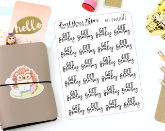 Get Groceries Planner Stickers - Script Planner Stickers - Lettering Planner Stickers - Food Planner Stickers - Fits Most Planners - 272