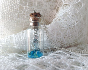 Silver Mermaid Necklace, Mermaid In A Bottle, Crystal Bottle Necklace, silver mermaid in glass bottle with blue crystals and glitter sand