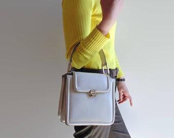 Square Handbag White Leather - 70s Top Handle Bag