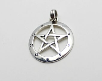 Numerology Pentacle Pentagram 925 Silver Made by celebrated artist Peter Stone