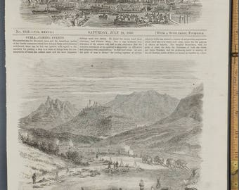 Revolution in Sicily. Artist Sketch by Frank Vizetelly. War 1860. Large Antique Engraving. Vintage Print.Horses and Cannons.