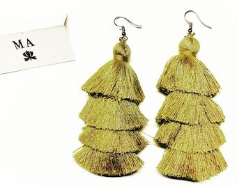 Yellow long tassle fringe earrings